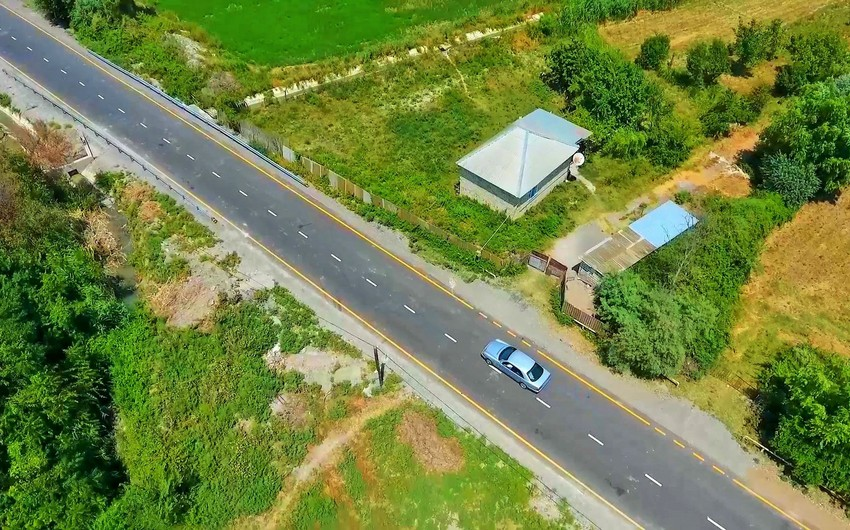 Şəki və Yevlaxda 4 kəndin 19 km uzunluğunda yolu yenidən qurulub