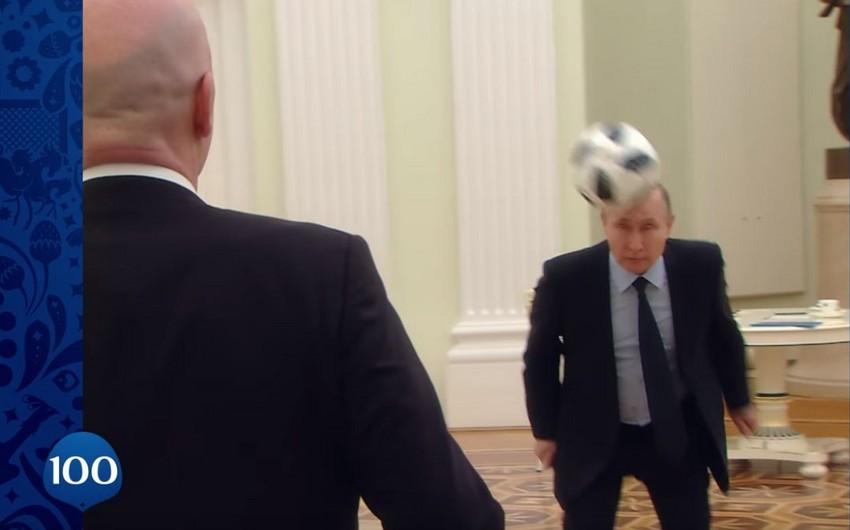 Vladimir Putin DÇ-2018-ə 100 gün qalması münasibətilə videoçarxa çəkilib - VİDEO