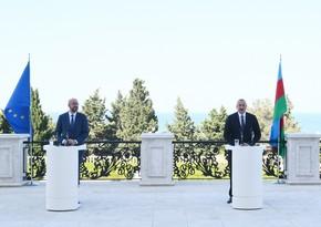 Совместная пресс-конференция Ильхама Алиева и Шарля Мишеля - ВИДЕО