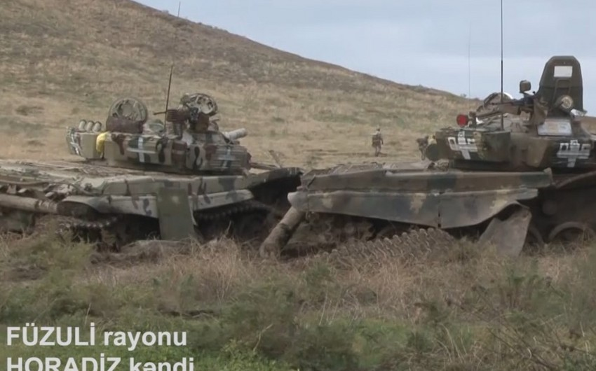 Footage of armored vehicles left by Armenians while fleeing liberated Horadiz