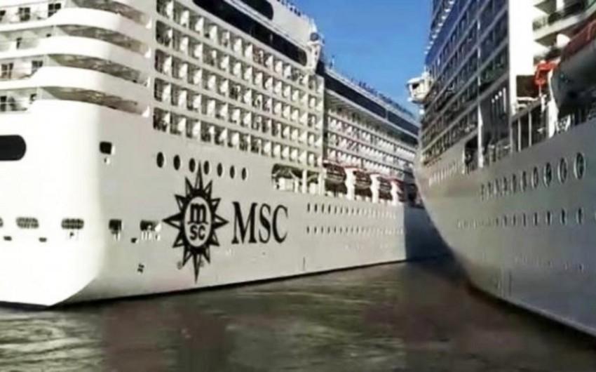 Buenos-Ayres limanında iki kruiz gəmisi toqquşub - VİDEO