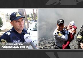 Qəhrəman polis: O an iki uşağım gözümün qabağına gəldi - VİDEO
