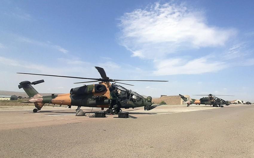 Combat helicopters involved in TurAz Qartalı - 2020 exercises