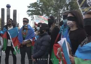 Azərbaycanlı gənclər Nyu-Yorkda etiraz aksiyası keçiriblər
