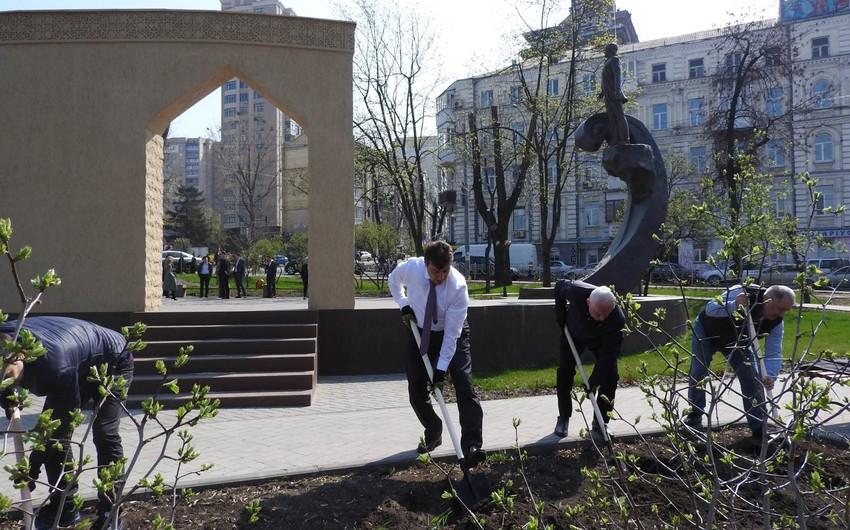 Азербайджанские дипломаты и бизнесмены провели в Киеве акцию Посади 100 деревьев!
