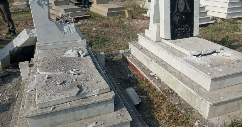 Rockets launched by Armenians destroy cemetery in Aghjabadi