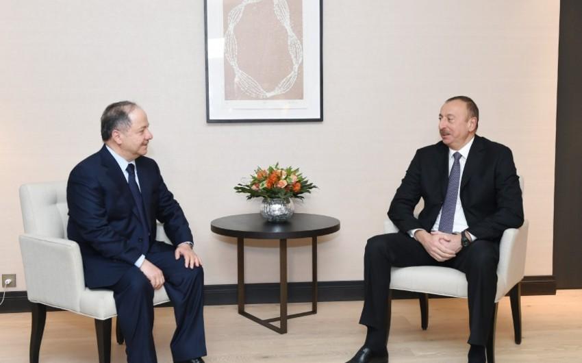 İlham Əliyev İraq Kürdüstan Regional hökumətinin başçısı ilə görüşüb