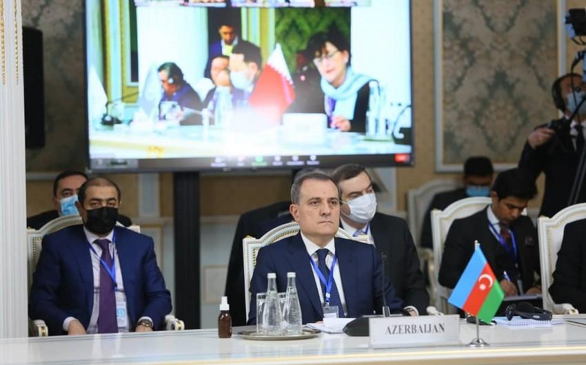 Ceyhun Bayramov Tacikistanda beynəlxalq konfransda çıxış edib