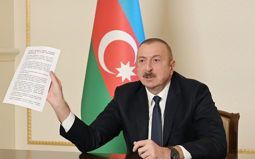 Azərbaycan Prezidenti: 10 noyabr bəyanatı de-fakto sülh müqaviləsidir